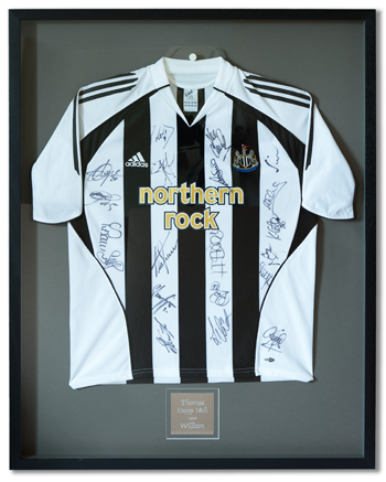 Framed football shirt by Pennybatch Gallery